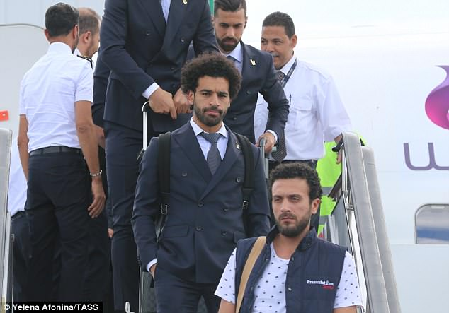 Mohamed Salah arrived in Russia on Sunday as Egypt get set for their return to the World Cup