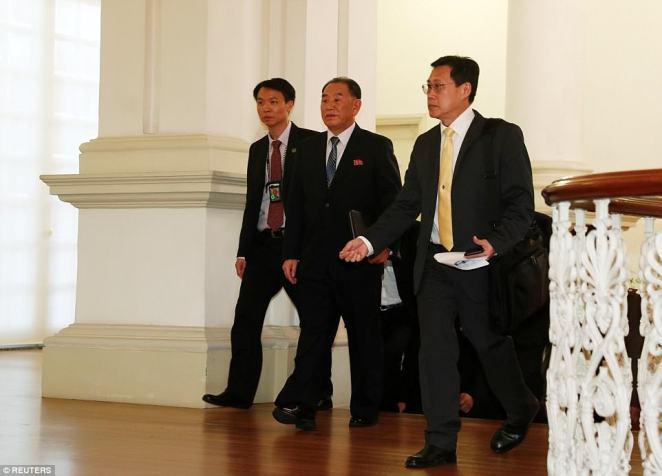 Kim Yong Chol, a close aide to North Korea's leader Kim Jong Un, walks in the Istana