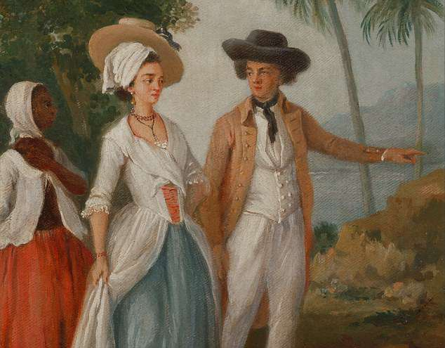The Anthropocene began in the 1600s a new book claims. Pictured: A painting by Agostino Brunias in which a plantation owner in America is seen with his wife and a slave or servant