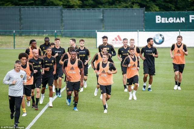 The Belgium squad take part in their final training session in Tubize before their friendly with Costa Rica on Monday evening