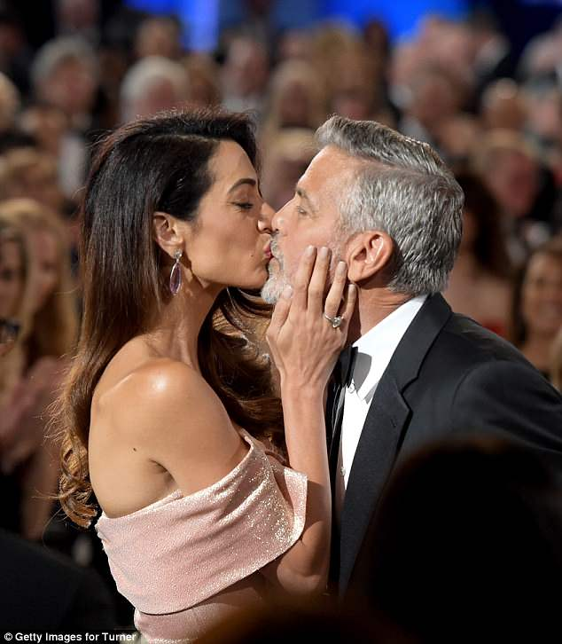 Sealed with a kiss: After they had declared their mutual adoration at the American Film Institute
