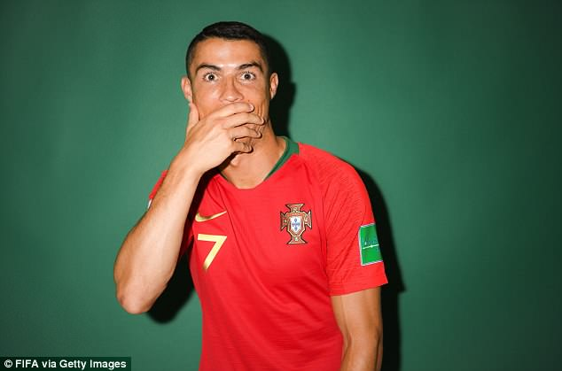 The Portugal forward pulled several cheeky faces for the camera on Sunday evening