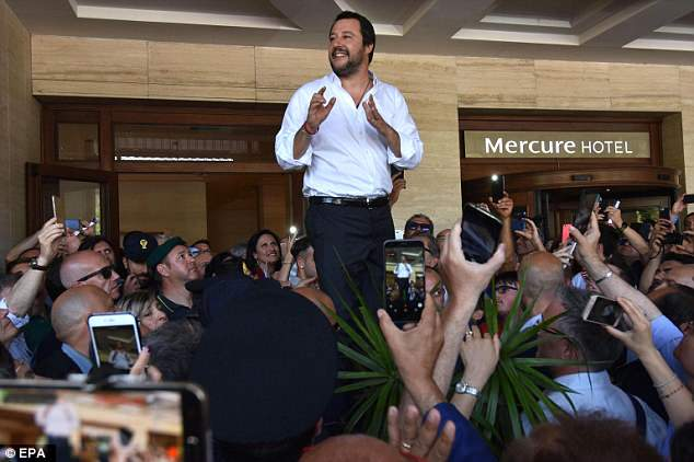 Minister of the Interior Matteo Salvini (pictured)threatened to bar rescue ships from docking in the country's ports after Malta refused to take hundreds of migrants