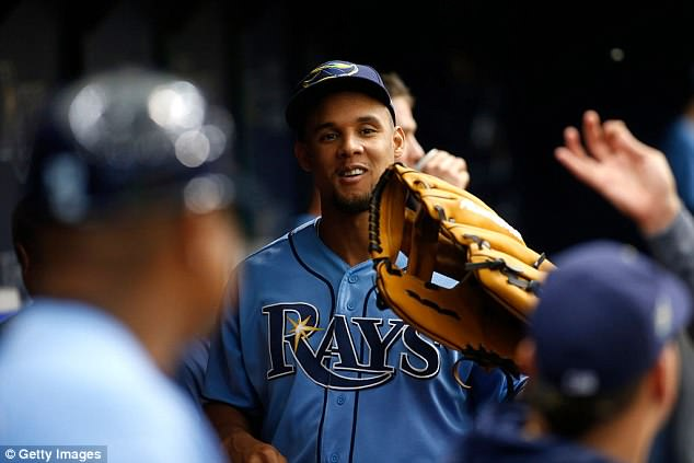 Carlos Gomez is seen on Sunday, when he returned to play without serious apparent injury