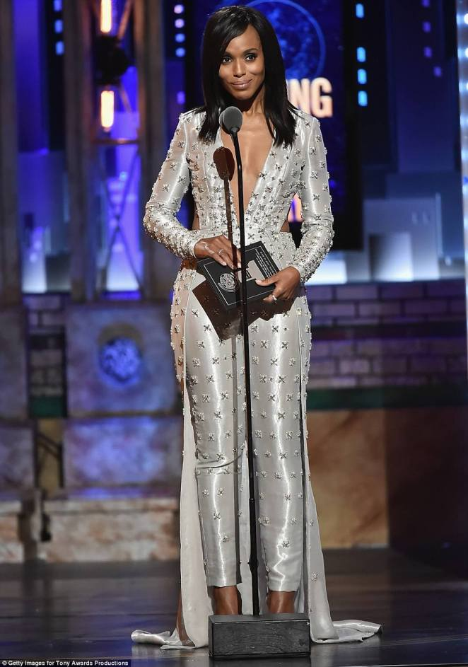 The glamorous life:Kerry Washington was the first of the evening's presenters, baring her cleavage in a glittering metallic-studded jumpsuit to present the award for Best Actor in a Play to Andrew