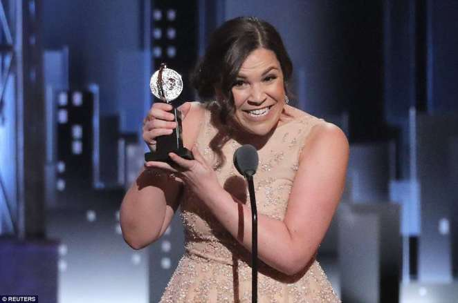 'I was told to change my last name': Lindsay Mendez rose to the microphone to giddily accept Best Featured Actress in a Musical for a revival of Carousel, beating out a category that included her castmate, opera diva Renee Fleming