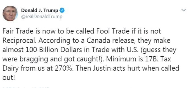 Trump instead took aim at Canadian Prime Minister Justin Trudeau, who he's been sparring with from across the International Dateline over steel and aluminum tariffs the U.S. imposed on its allies in the name of national security
