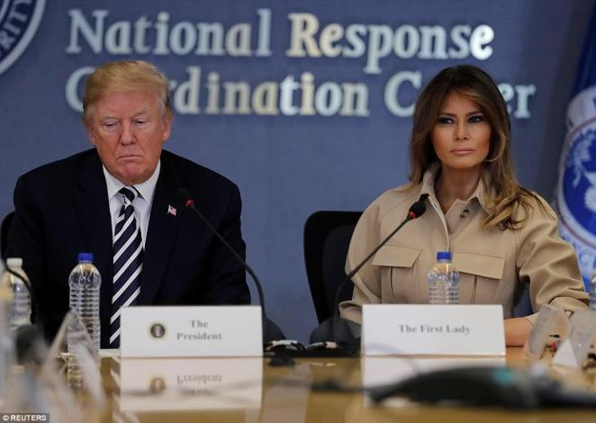 Melania made her second public appearance since her kidney surgery Wednesday afternoon when she joined the president at a briefing on hurricane preparedness at FEMA