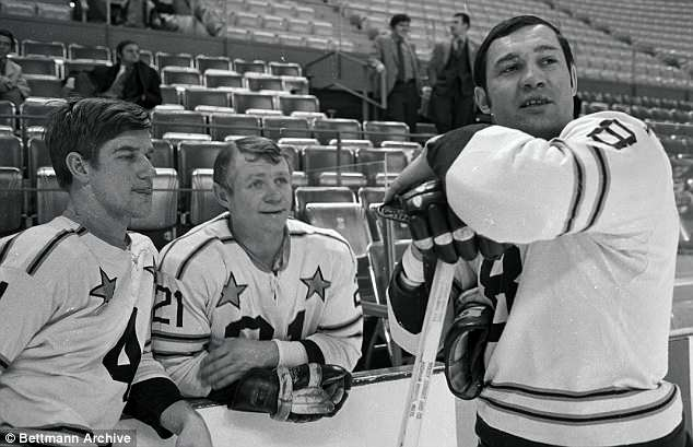 Bruins' Bobby Orr, McKenzie and John Bucyk are pictured in this undated photo before starting workout for NHL All-Star game
