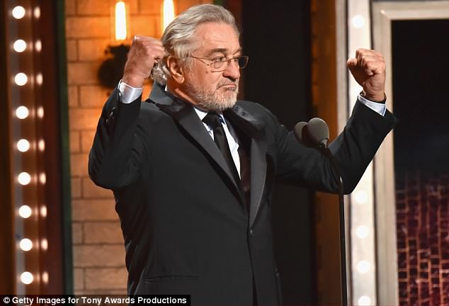 A defiant DeNiro pumped his fists as the audience cheered his anti-Trump declaration on Sunday