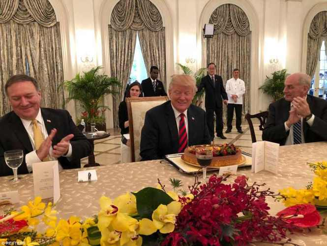 President Donald Trump says there is 'excitement in the air' in Singapore, where he spent his afternoon at the presidential palace in Singapore in several sessions and a working lunch with Prime Minister Lee Hsien Loong