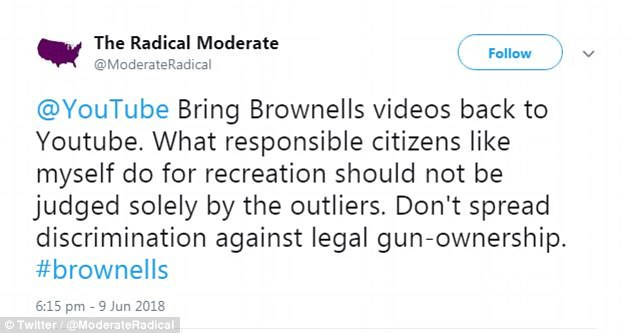 But the video-sharing platform quickly changed its mind following pressure from the pro-gun lobby, re-instating the channel just 40 hours after it was removed.  User @ModerateRadical claimed the ban was an example of discrimination against legal gun-ownership