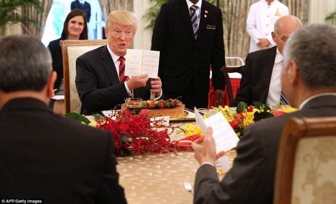 The White House has confirmed that Trump, pictured having lunch with Prime Minister Loong, will speak with Kim Jong Un one-on-one for around two hours when the summit gets underway