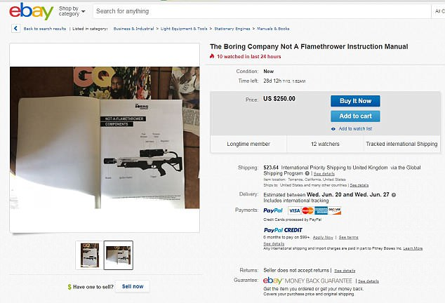 One eBay seller has even separately listed the instruction manual included in the box of the Boring company flamethrower for$250 (£187)