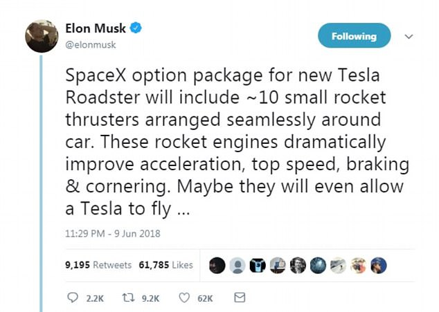 Elon Musk unveiled plans to add missiles to the Tesla Roadster to accelerate, top speed, brakes and curves on the new vehicle & # 39; drastically & # 39; to improve