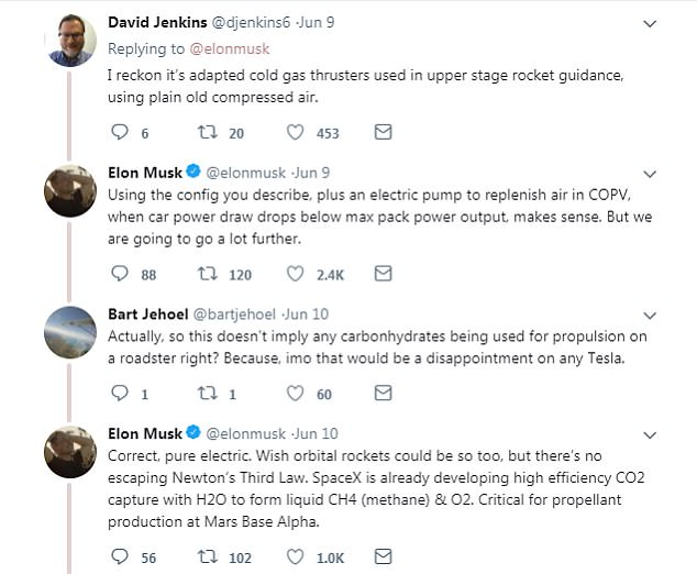 A Twitter user speculated that Tesla would use compressed air in the rocket boosters to maintain its all-electric promise and achieve the accelerations improvements promoted by Musk.