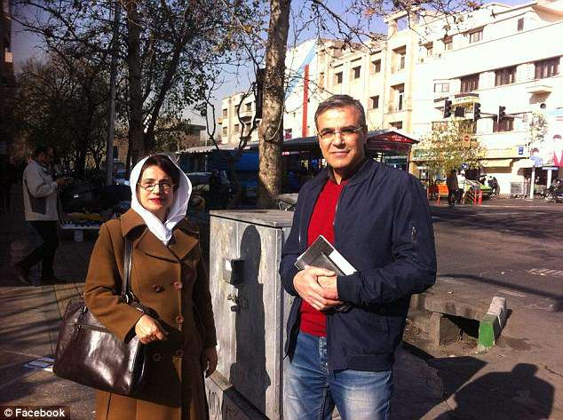 Soutoudeh and husband Reza Khandan at the place where one of the most famous protests against the mandatory wearing of the hijab happened