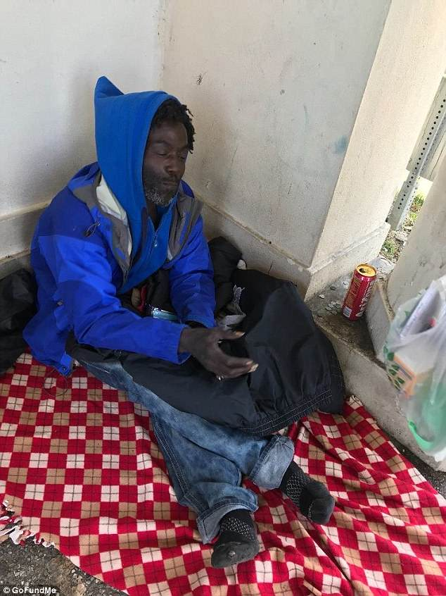Homeless man Greg Markson, who goes by the nickname Drew, had been living in the spot for some time and is well known to locals