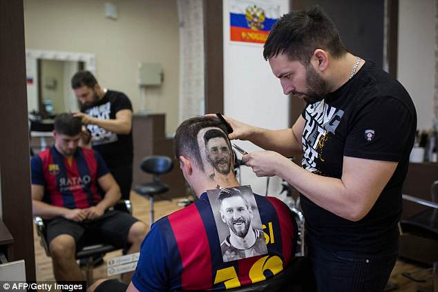 Using an image for guidance, Serbian barber Mario Hvala has been shaving Lionel Messi faces