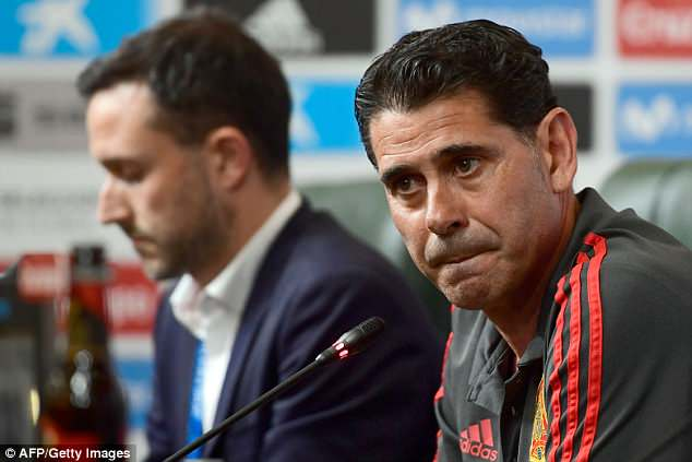 Fernando Hierro addresses the media at Spain's World Cup base in Krasnodar on Wednesday