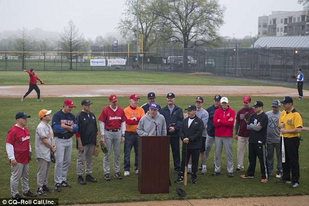 Rep. Roger Williams  speaks during news conference with members of the Republican baseball team after the first practice of the year on the same field where the shooting took place