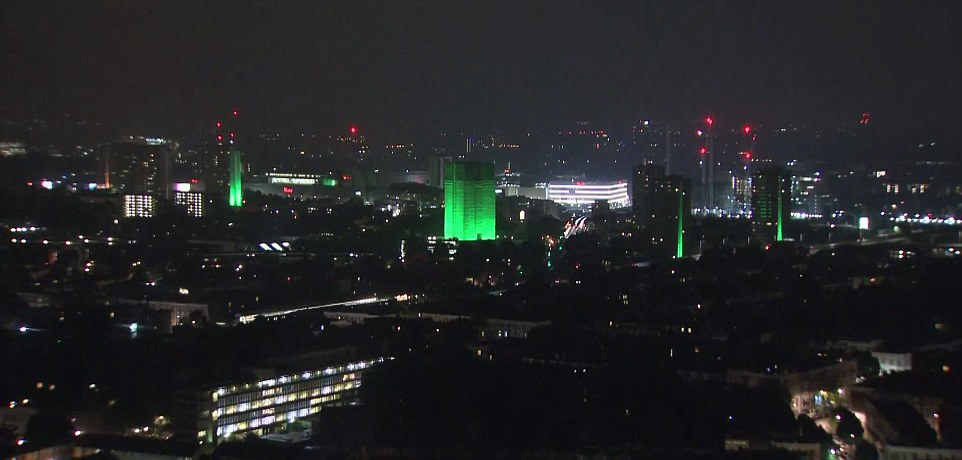 Including Grenfell itself, a total of thirteen towers through London will glow green for four nights to mark the one-year anniversary since the disaster