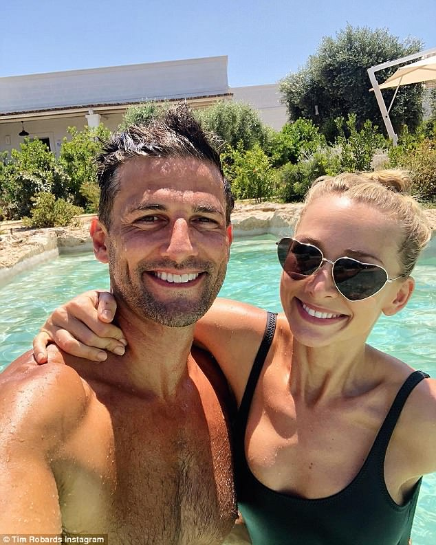 Fun in the sun: The happy couple appear to be having the time of their lives during their week-long honeymoon overseas