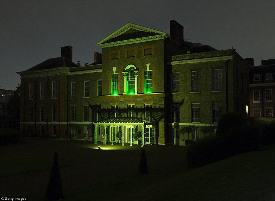 Paying tribute: Kensington Palace, the home of the Duke and Duchess of Cambridge, illuminated its windows out of respect to the victim's who died