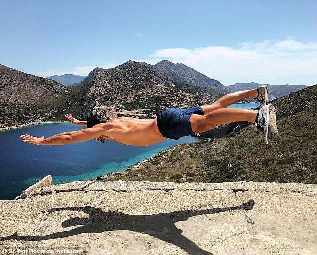 How did he do it? Tim Robards (pictured) baffled followers on social media on Wednesday with a photo which appears to show him floating on air over a rock face in Turkey