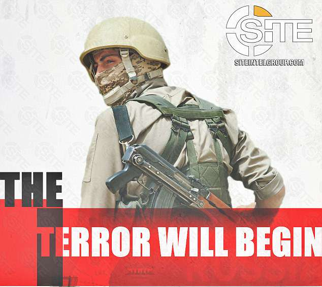 A third shows a masked militant carrying a machine gun along with the caption 'the terror will begin'