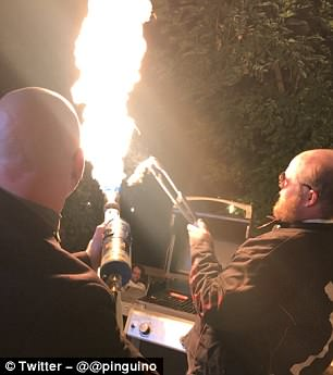 head of its launch earlier this week, Elon Musk said the torch gun could protect against undead zombies, tweeting: 'When the zombie apocalypse happens, you'll be glad you bought a flamethrower. Works against hordes of the undead or your money back!'