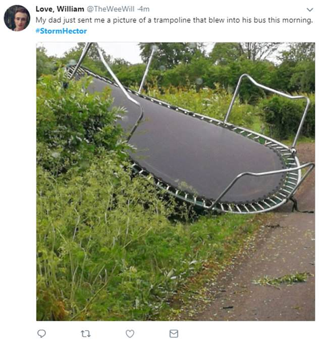 This trampoline was another 'victim' of Storm Hector after it was blown upside down