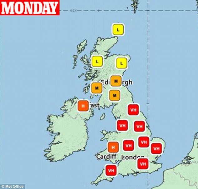 And it worsens on Monday, when all eight regions of England will have 'very high' counts, with high counts also seen in Northern Ireland and Wales