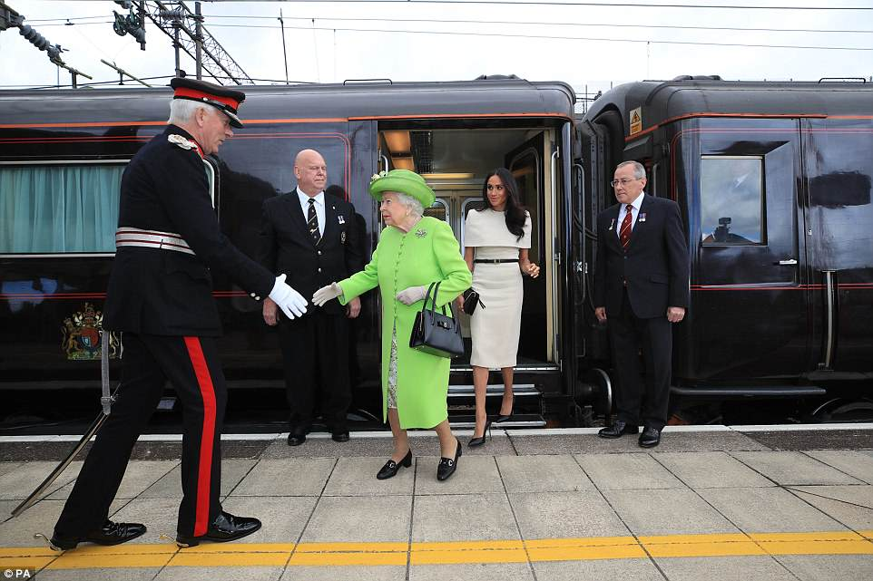The Duchess of Sussex and the Queenarrive by Royal Train at Runcorn Station to carry out engagements in Cheshire