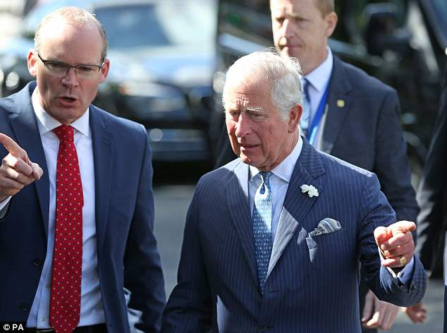 The royal was accompanied by the Minister for Foreign Affairs Simon Coveney, pictured