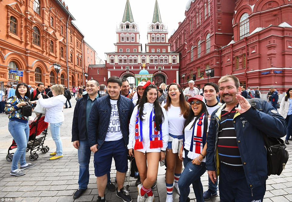 Fans of many countries, including Costa Rica (pictured) have gathered in Moscow ahead of the big World Cup kick-off
