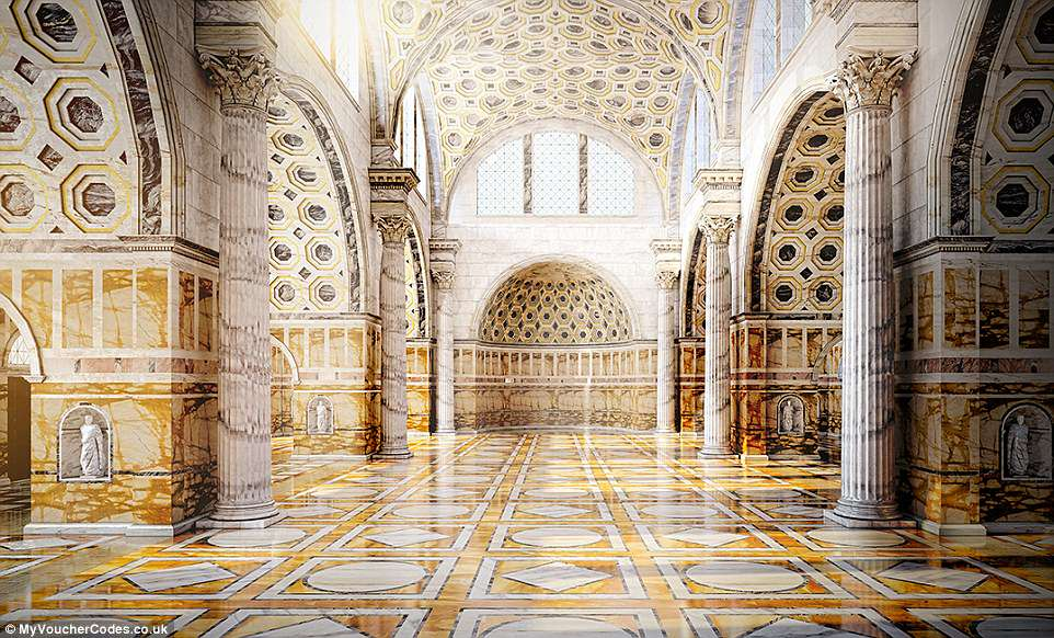 Before it fell into ruin, the building hadspectacular Corinthian columns, multi-coloured marble floors and gilded bronze tile walls