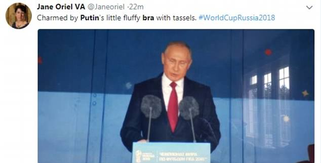 Numerous viewers took to Twitter to joke about Putin's 'fluffy bra' at the opening ceremony