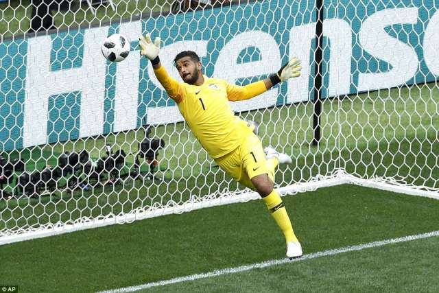 Saudi Arabia goalkeeperAbdullah Al-Mayouf could do nothing to prevent the header - despite being at full stretch