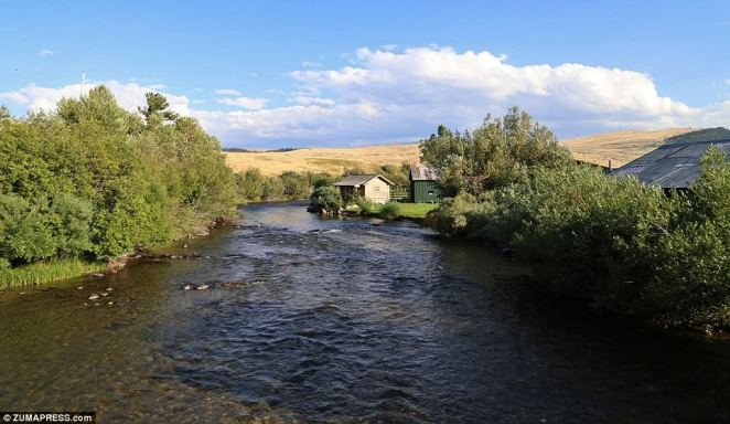 Doolittle: 'Wildlife abounds, with massive trophy elk, mule and whitetail deer, upland birds, antelope and wild rainbow and brown trout,' says the listing (river on ranch above)