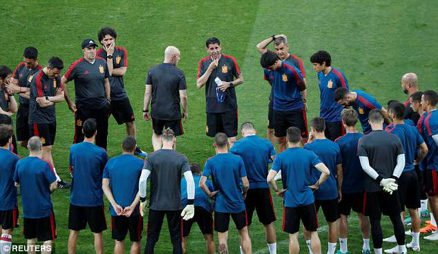 Hierro addresses the Spanish on the pitch at the Fisht Stadium in Sochi on Thursday night