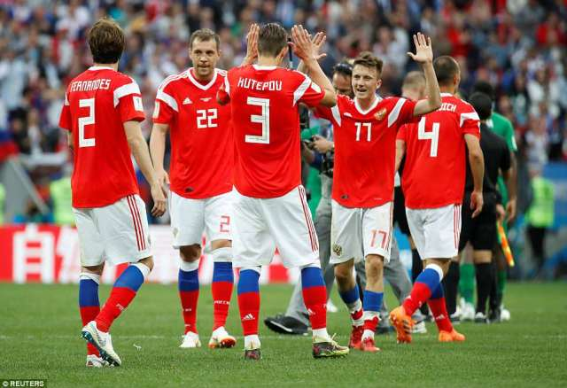 Russia's players had cause for celebration on Thursday as they swept aside Saudi Arabia 5-0 in the 2018 World Cup opener