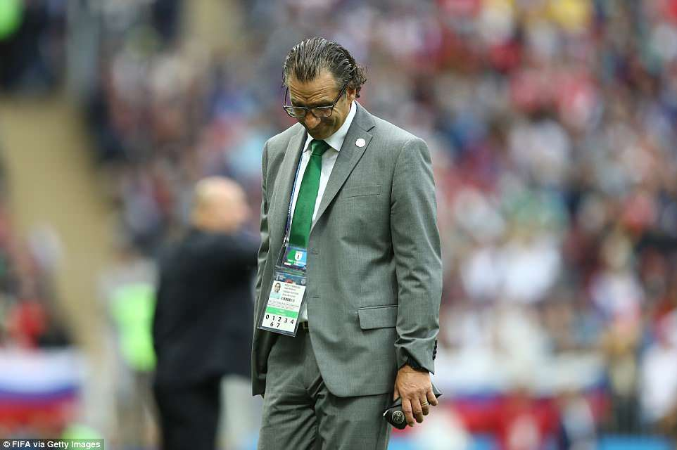 Saudi Arabia managerJuan Antonio Pizzi cut a crestfallen figure as he could only watch on helplessly at his side's display