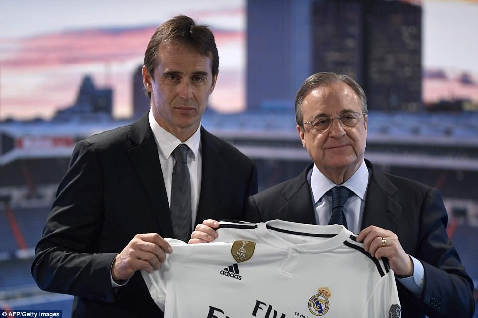 Lopetegui was chosen to replace Zinedine Zidane at the Bernabeu, after the Frenchman resigned over transfer policy