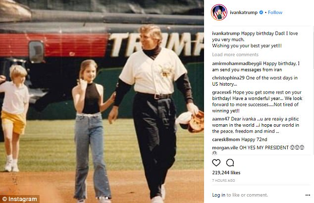 Ivanka's birthday message included a series of photos of her as a small girl smiling with her father