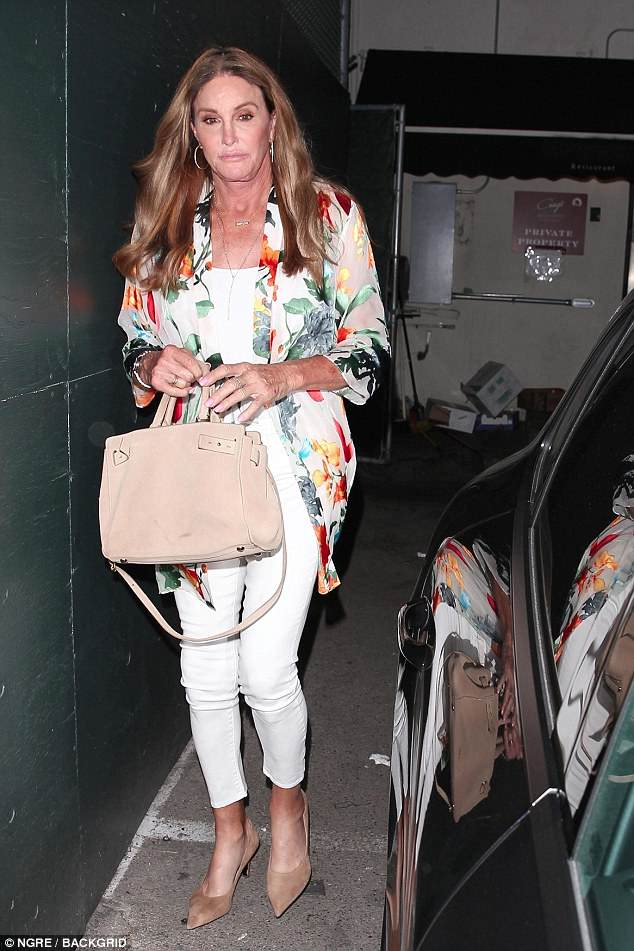 Chic: Caitlyn Jenner seemed to be in great spirits as she stepped out for a bite to eat at the trendy Craig's restaurant in Los Angeles on Friday evening