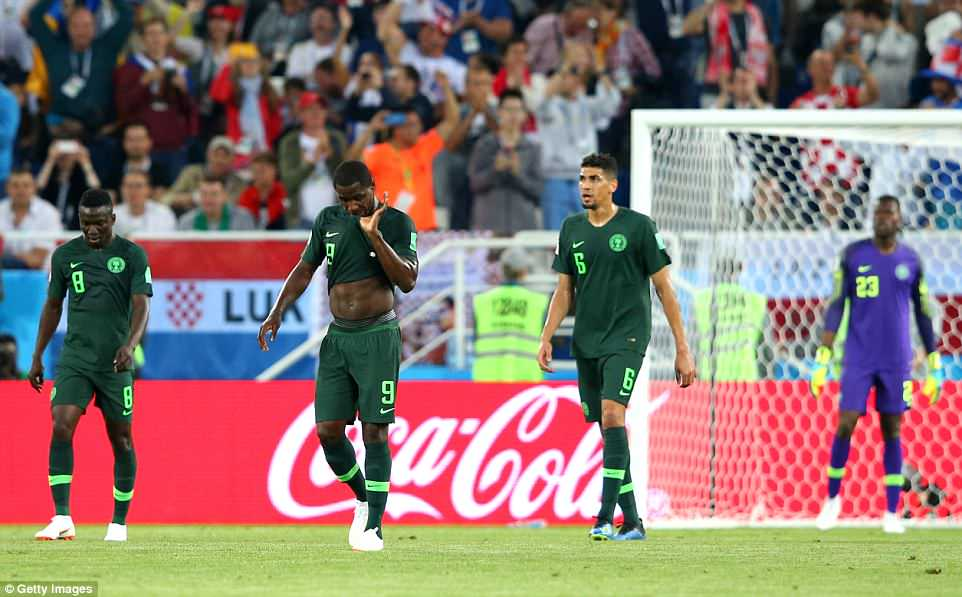Etebo, Odion Ighalo (No 9) and Leon Balogun (No 6) looked dejected as they trudged back into position after Croatia scored