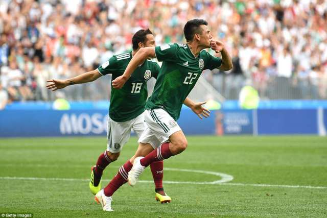 Lozano celebrates after scoring his team's first goal of the match against World Cup holders Germany at the Luzhniki Stadium
