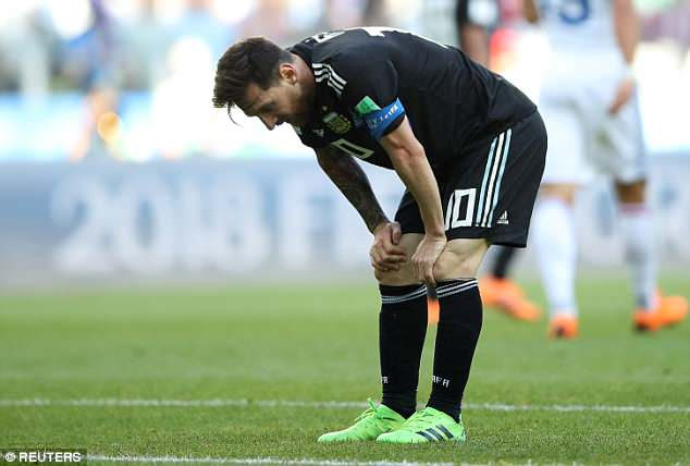 Messi looks dejected after failing to put Argentina into the lead again on Saturday afternoon