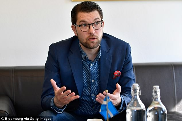 Swift Swexit: The leader of the far-right Sweden Democrats Jimmie Åkesson - currently second in the polls - has called for a Swedish EU referendum